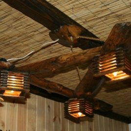 Потолочные люстры из дерева под старину